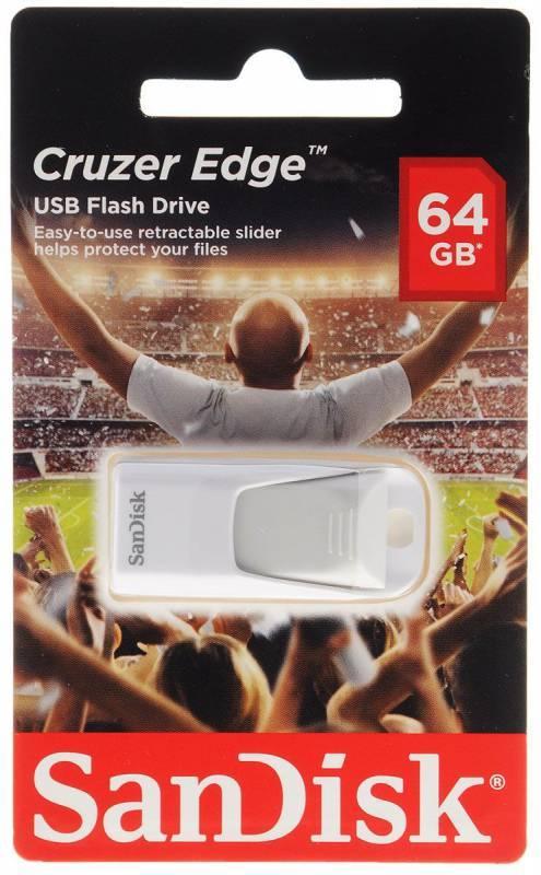 Флеш диск Sandisk Cruzer Edge EURO 2016 Football 64ГБ USB2.0 белый - фото 1