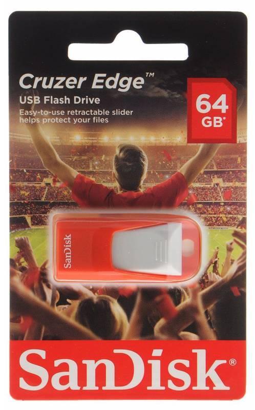 Флеш диск Sandisk Cruzer Edge EURO 2016 Football 64ГБ USB2.0 красный - фото 1