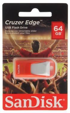 Флеш диск 64Gb Sandisk Cruzer Edge EURO 2016 Football USB2.0 красный
