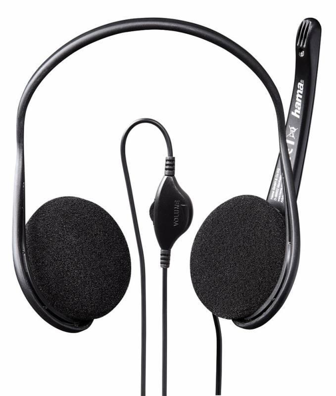 Наушники с микрофоном Hama Black Stripe черный (00053979) - фото 1