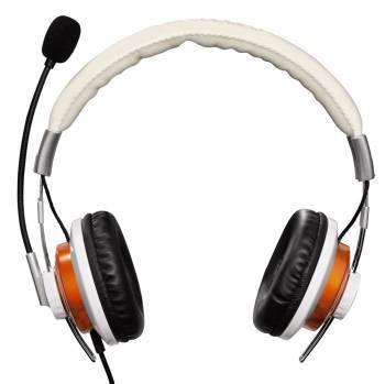Наушники с микрофоном Hama HS-320 белый/золотистый, стерео, накладные, крепление оголовье, проводные, кабель 2м, одностороннее подключение кабеля