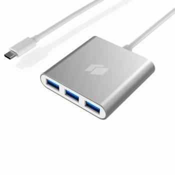 Разветвитель USB-C Hiper C4 серебристый