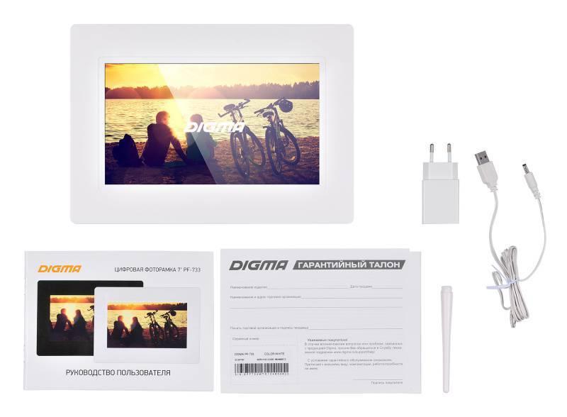"""Цифровая фоторамка 7"""" Digma PF-733 белый (PF733W) - фото 7"""