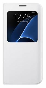 Чехол (флип-кейс) Samsung S View Cover белый, полиуретан/поликарбонат, для Samsung Galaxy S7 edge (EF-CG935PWEGRU)