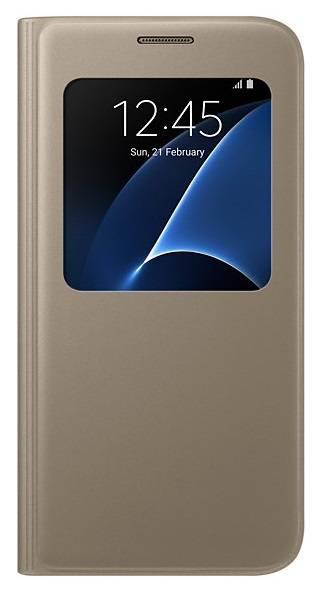 Чехол Samsung S View Cover, для Samsung Galaxy S7, золотистый (EF-CG930PFEGRU) - фото 1