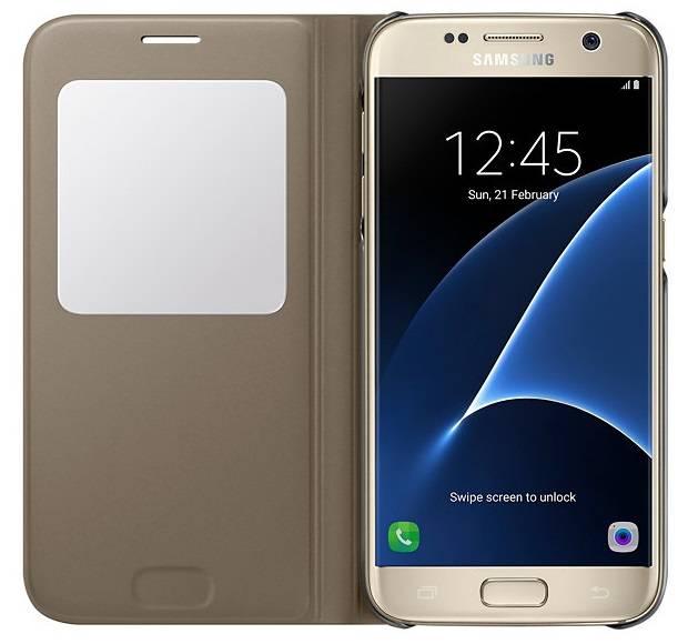 Чехол Samsung S View Cover, для Samsung Galaxy S7, золотистый (EF-CG930PFEGRU) - фото 3