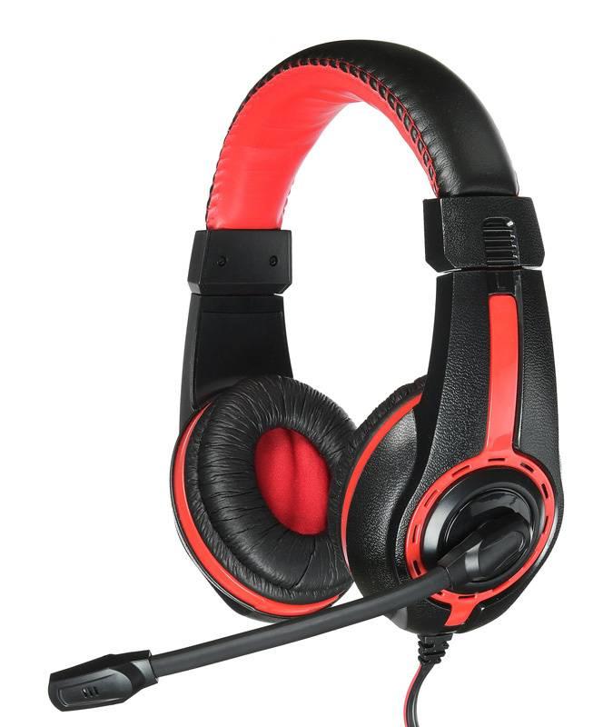 Наушники с микрофоном Оклик HS-L200 черный/красный (Y-819) - фото 1