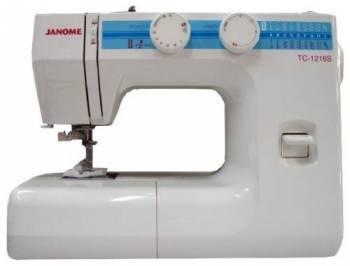 Швейная машина Janome TC-1216S белый, электромеханическая, челнок классический (вертикальный качающийся), автоматическое выполнение петель