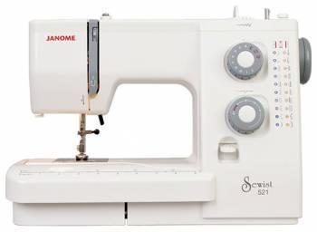 Швейная машина Janome 521 белый, электромеханическая, челнок классический (вертикальный качающийся), полуавтоматическое выполнение петель
