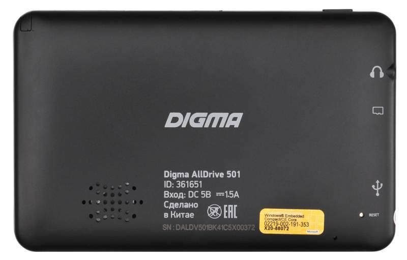 "GPS-навигатор Digma ALLDRIVE 501 5"" черный - фото 2"