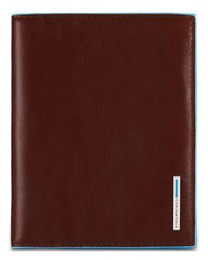 Обложка для паспорта Piquadro Blue Square коричневый, кожа натуральная (PP1660B2/MO)