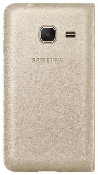 Чехол Samsung Flip Cover, для Samsung Galaxy J1 mini, золотистый (EF-FJ105PFEGRU) - фото 1