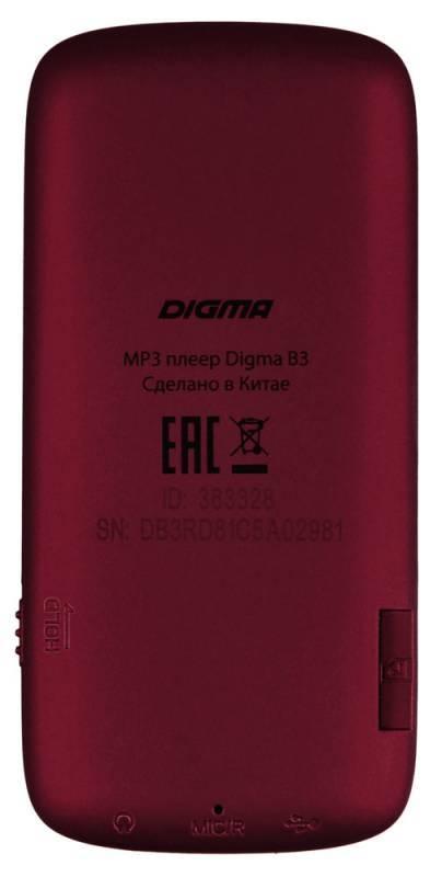 Плеер Digma B3 8ГБ красный - фото 2
