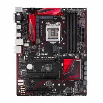 Материнская плата Asus B150 PRO GAMING, гнездо процессора LGA 1151, чипсет Intel B150, память 4xDDR4, форм-фактор ATX, звук AC`97 8ch(7.1), разъемы GbLAN+VGA+HDMI