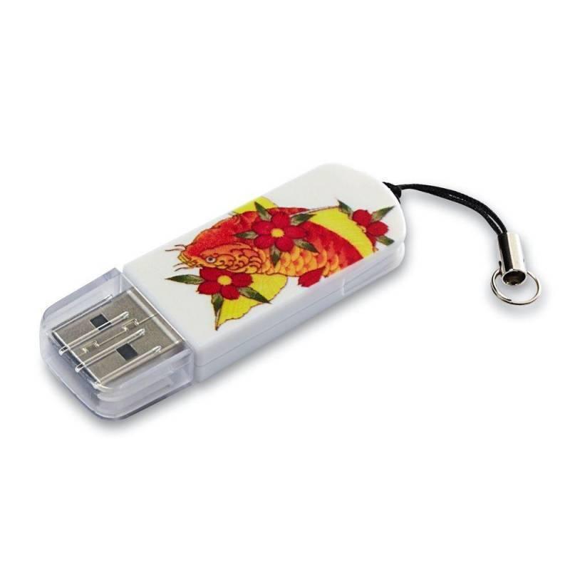 Флеш диск Verbatim Mini Tattoo Koi 32ГБ USB2.0 белый/рисунок (49897) - фото 1