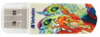 Флеш диск 32Gb Verbatim Mini Tattoo Phoenix USB2.0 белый / рисунок