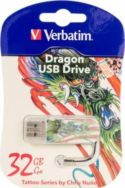 Флеш диск 32Gb Verbatim Mini Tattoo Dragon USB2.0 белый / рисунок