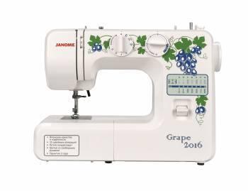 Швейная машина Janome Grape 2016 белый, электромеханическая, челнок вертикальный, полуавтоматическое выполнение петель