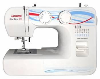 Швейная машина Janome Sew Line 300 белый, электромеханическая, челнок горизонтальный, полуавтоматическое выполнение петель