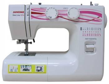 Швейная машина Janome Sew Line 500s белый, электромеханическая, челнок классический (вертикальный качающийся), автоматическое выполнение петель
