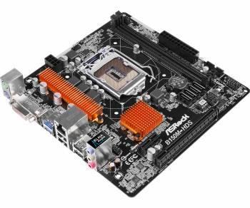 Материнская плата Asrock B150M-HDS, гнездо процессора LGA 1151, чипсет Intel B150, память 2xDDR4, форм-фактор mATX, звук AC`97 8ch(7.1), разъемы GbLAN+DVI+HDMI