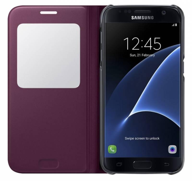 Чехол Samsung S View Cover, для Samsung Galaxy S7, бордовый (EF-CG930PXEGRU) - фото 3