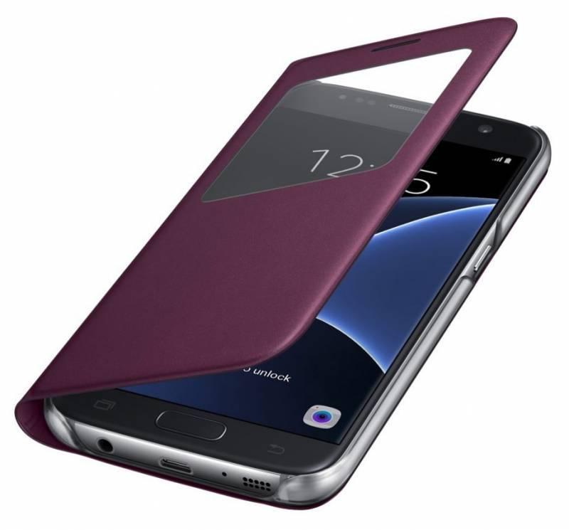 Чехол Samsung S View Cover, для Samsung Galaxy S7, бордовый (EF-CG930PXEGRU) - фото 4