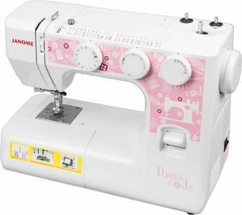 Швейная машина Janome Dresscode белый/розовый, электромеханическая, челнок классический (вертикальный качающийся), автоматическое выполнение петель