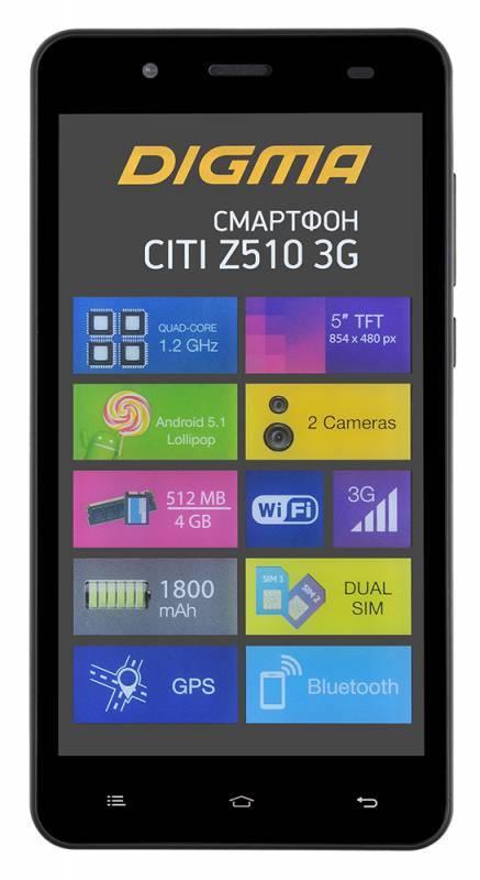 Смартфон Digma Z510 3G CITI 4ГБ черный - фото 2