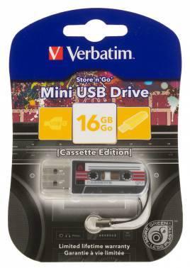 Флеш диск 16Gb Verbatim Mini Cassette Edition USB2.0 черный / рисунок