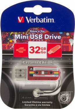 Флеш диск Verbatim Mini Cassette Edition 32ГБ USB2.0 красный/рисунок (49392)