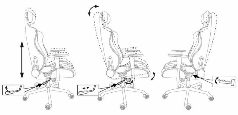 Кресло игровое Бюрократ 771 серый (771/GREY+BL) - фото 6