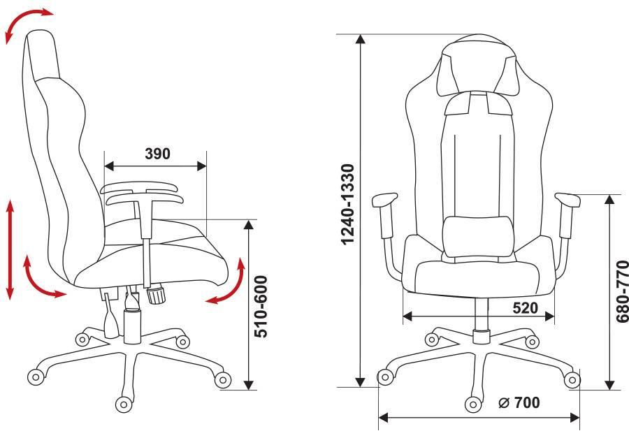 Кресло игровое Бюрократ 771 серый (771/GREY+BL) - фото 7