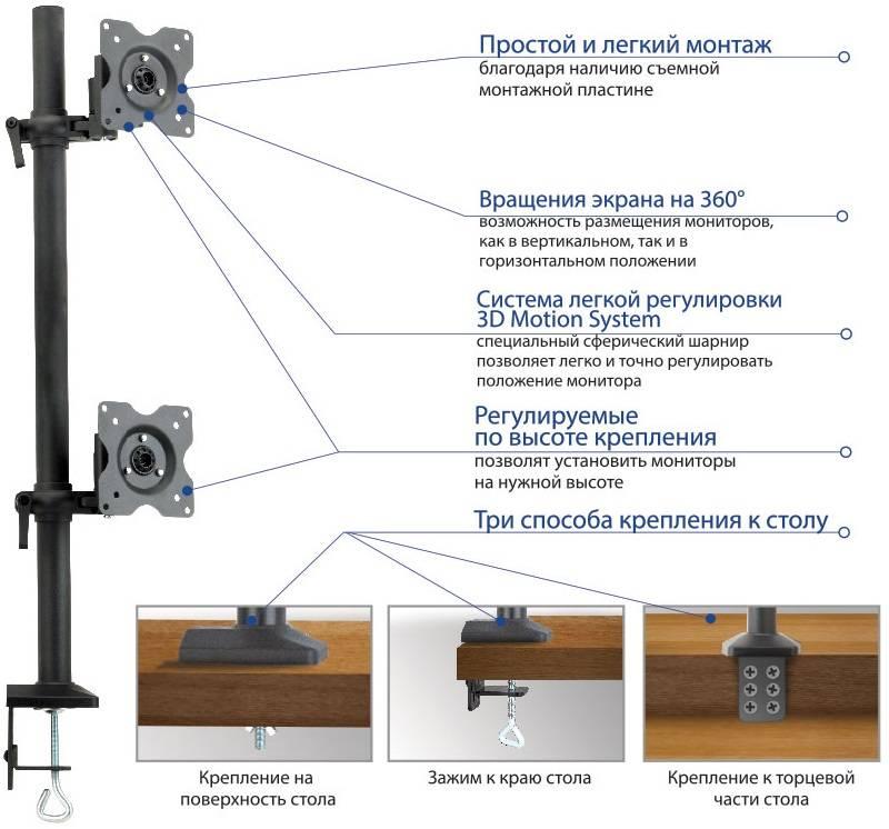 Кронштейн для мониторов ЖК Kromax OFFICE-5 серый - фото 3
