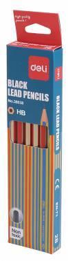 Карандаш чернографитовый Deli E38038 ассорти HB 12шт.