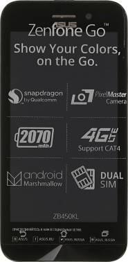 Смартфон Asus ZB450KL Zenfone Go черный, встроенная память 8Gb, дисплей 4.5 854x480, Android 6.0, камера 8Mpix, поддержка 3G, 4G, 2Sim, 802.11bgn, BT, GPS, FM радио, microSD до 128Gb (90AX0091-M00200)