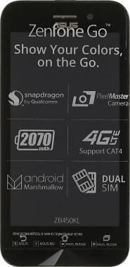 Смартфон Asus ZB450KL Zenfone Go серебристый/синий, встроенная память 8Gb, дисплей 4.5 854x480, Android 6.0, камера 8Mpix, поддержка 3G, 4G, 2Sim, 802.11bgn, BT, GPS, FM радио, microSD до 128Gb (90AX0097-M00400)