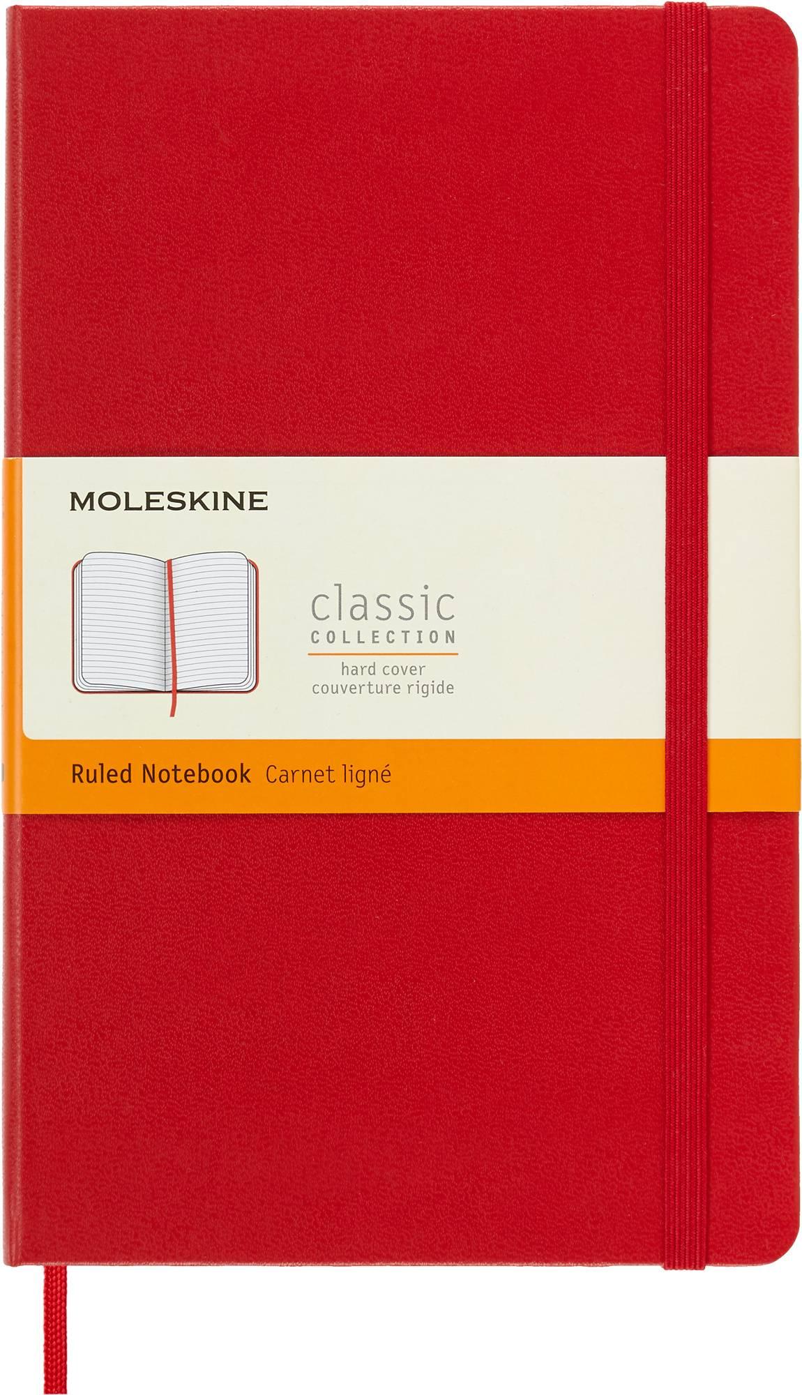 Блокнот Moleskine CLASSIC LARGE 130х210мм 240стр. линейка твердая обложка фиксирующая резинка красный - фото 1