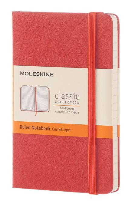 Блокнот Moleskine CLASSIC POCKET 90x140мм 192стр. линейка твердая обложка фиксирующая резинка оранжевый - фото 1