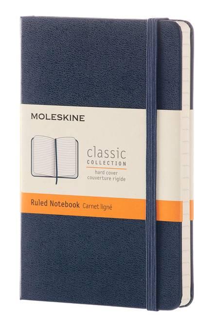 Блокнот Moleskine CLASSIC POCKET 90x140мм 192стр. линейка твердая обложка фиксирующая резинка синий сапфир - фото 1