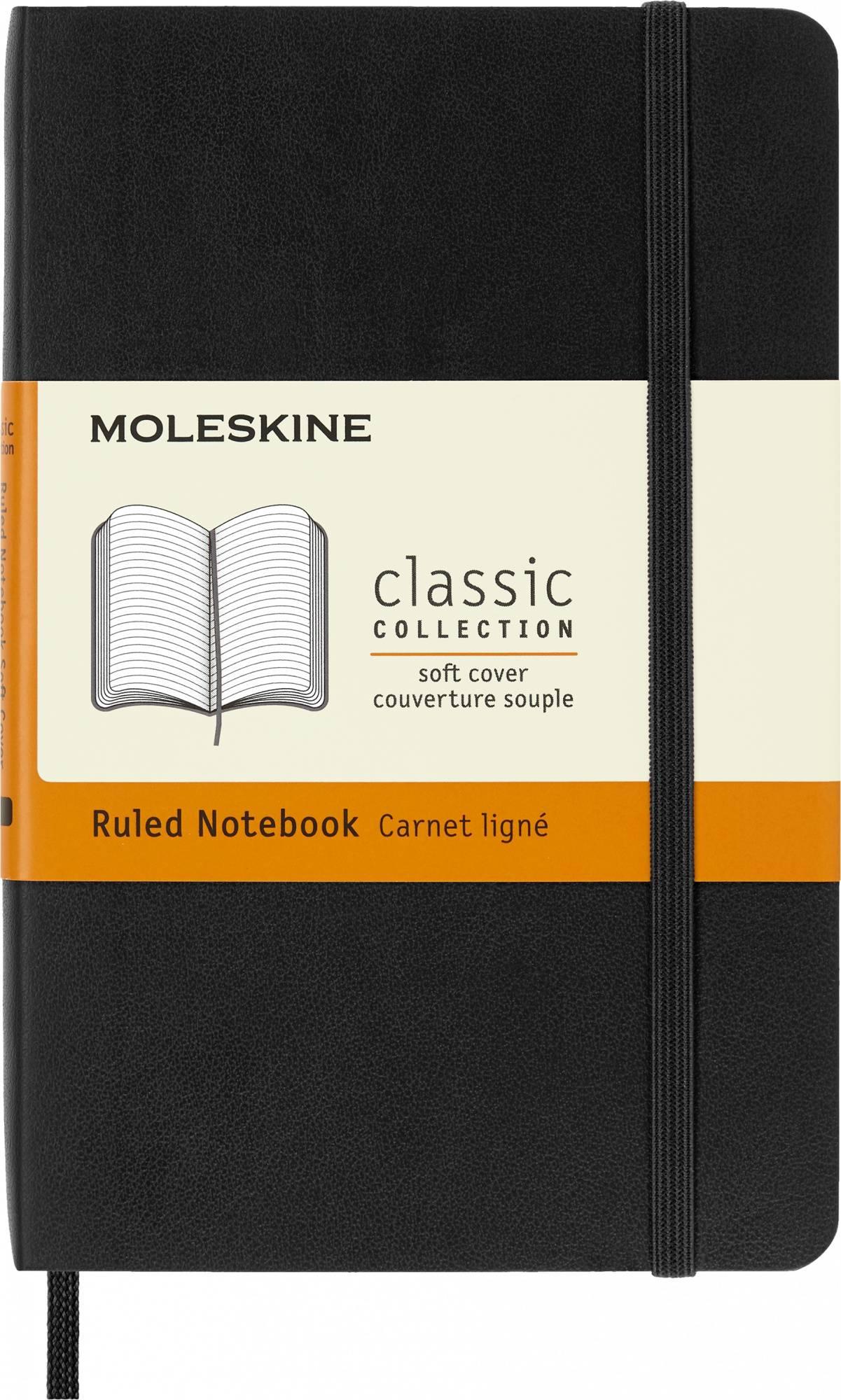 Блокнот Moleskine CLASSIC SOFT POCKET 90x140мм 192стр. линейка мягкая обложка фиксирующая резинка черный - фото 1