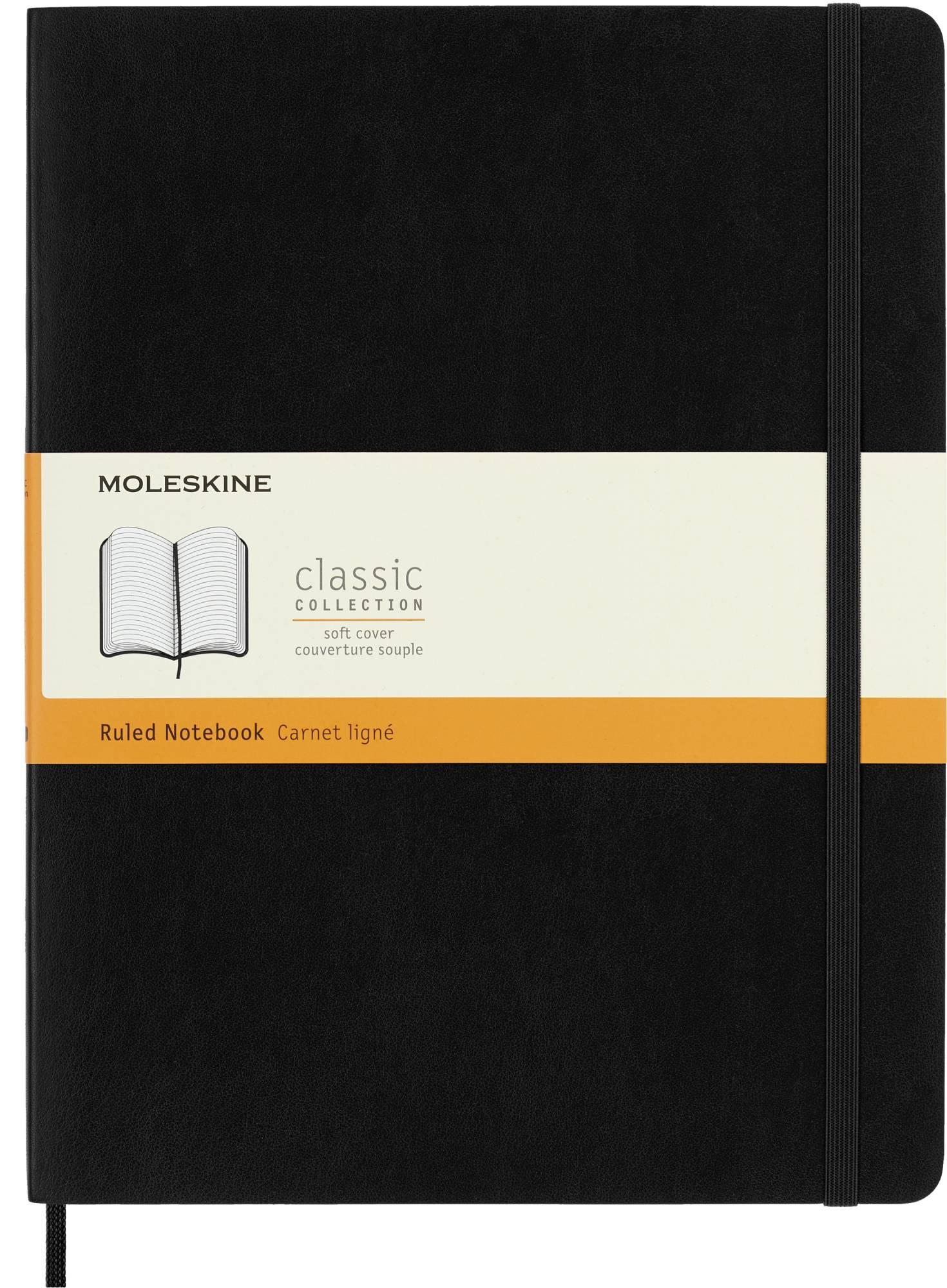 Блокнот Moleskine CLASSIC SOFT 190х250мм 192стр. линейка мягкая обложка фиксирующая резинка черный - фото 1