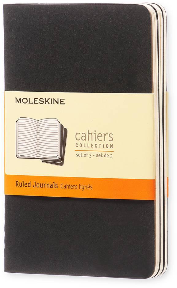 Блокнот Moleskine CAHIER JOURNAL 90x140мм обложка картон 64стр. линейка черный (3шт) - фото 1