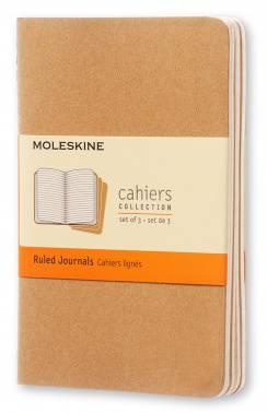 Блокнот Moleskine CAHIER JOURNAL 90x140мм обложка картон 64стр. линейка бежевый (3шт)