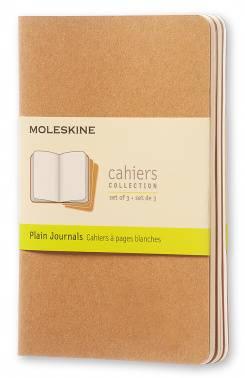 Блокнот Moleskine CAHIER JOURNAL 90x140мм обложка картон 64стр. нелинованный бежевый (3шт)