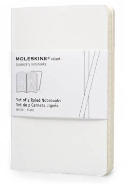 Блокнот Moleskine VOLANT 90x140мм 80стр. линейка мягкая обложка белый (2шт)