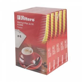 Фильтры для кофе для кофеварок Filtero Premium №4 белый 1х4, в упаковке 200шт. (5/200)
