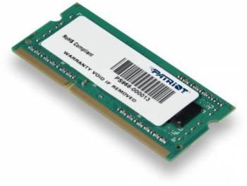 Модуль памяти Patriot PSD34G133382S, объем 1 х 4Gb, форм-фактор SO-DIMM 204-pin, тип памяти DDR3, рабочая частота 1333MHz, тайминги 9-9-9, unbuffered