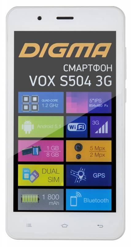 Смартфон Digma S504 3G Vox 8ГБ белый - фото 2