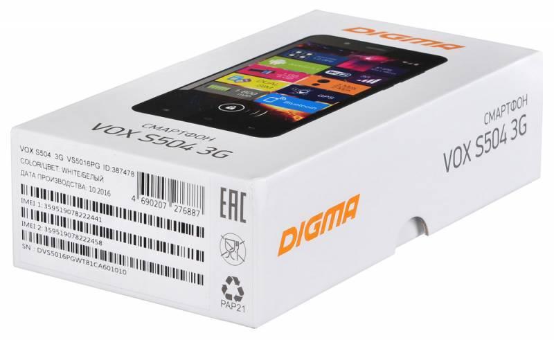 Смартфон Digma S504 3G Vox 8ГБ белый - фото 16